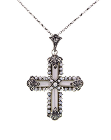 Medium sized Cross Pendant (White Mother of Pearl)