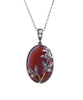 Oval agate pendant with tall rose ( Carnelian )