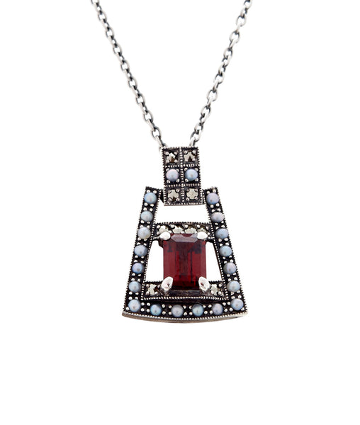 Art Deco Mini Pendant ( Garnet )