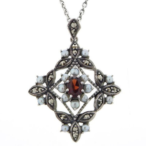 Seed Pearl and Garnet Diamond Shaped Pendant