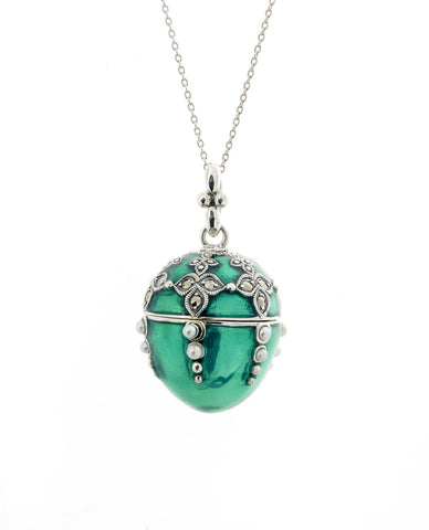 Enameled Egg Pendant (Green)