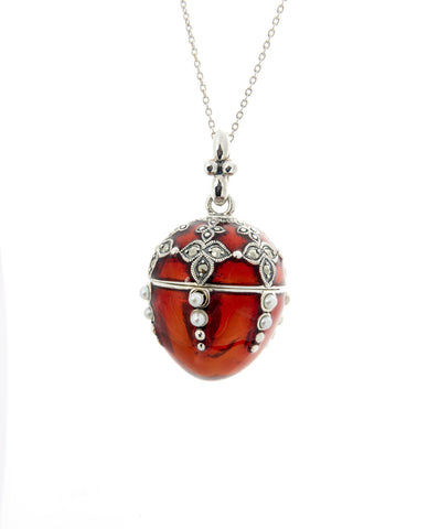 Enameled Egg Pendant (Red)
