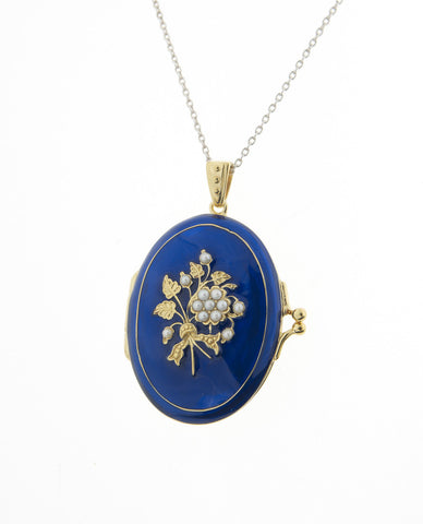 Blue enameled Oval Locket Pendant