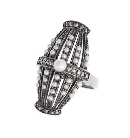 Vintage insipired Seed Pearl and Marcasite Ring