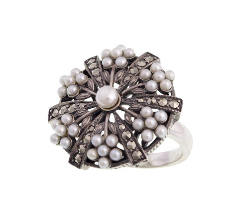 Seed Pearl and Marcasite Large Disk Ring