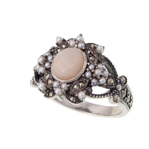 Decorative ring with seed pearl and marcasite (Pink Opal)