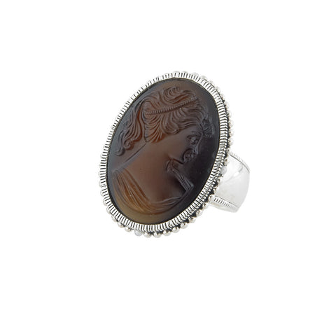 Vintage Glass Cameo Statement Ring (Brown)