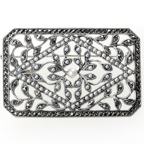 English Garden Rectangle Filigree Brooch / Pendant