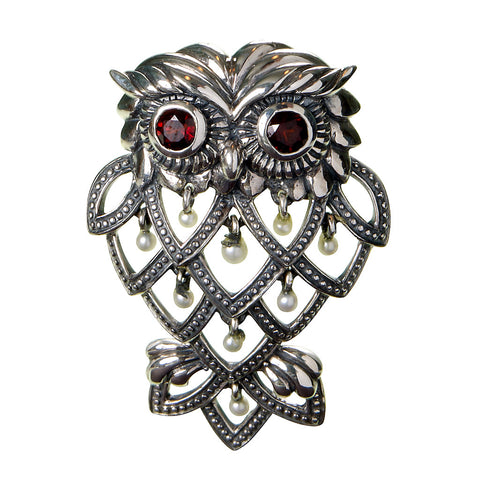 Curious Owl Brooch Pin / Pendant