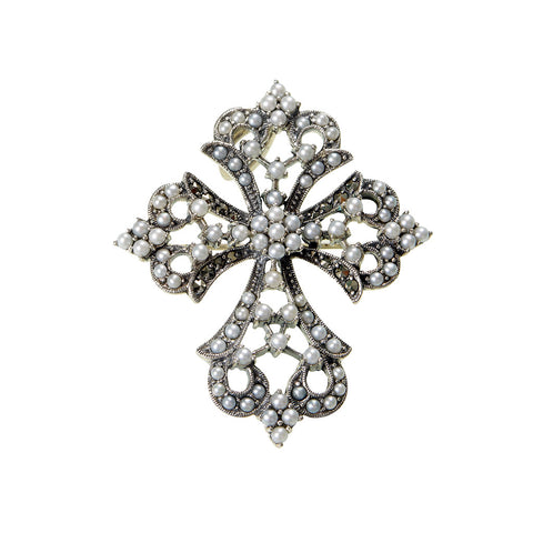 Seed Pearl and Marcasite Cross Pin / Pendant