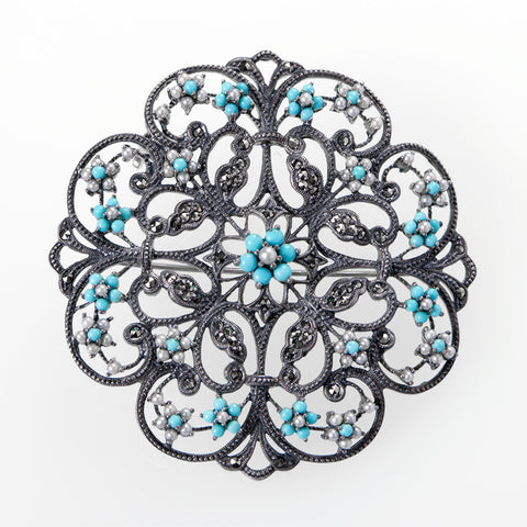Filigree Garland Brooch Pin / Pendant (Turquoise)