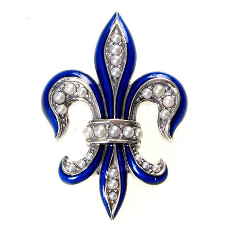 Enameled Fluer de Lis Pin / Pendant ( Royal Blue )