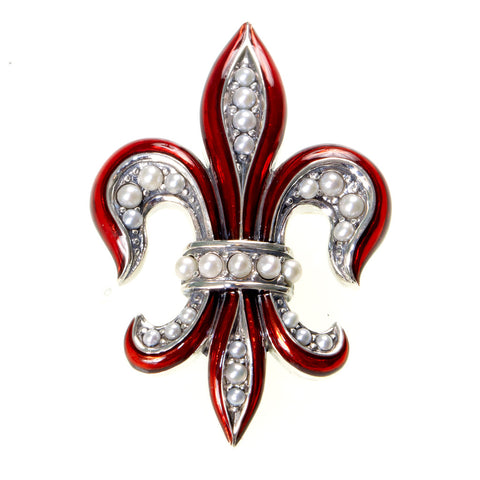 Enameled Fluer de Lis Pin / Pendant ( Wine Red )