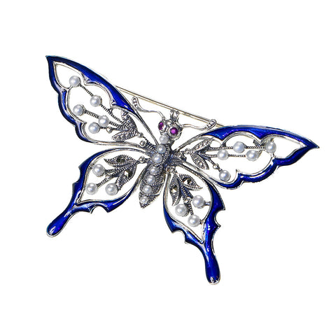 Blue Enamel Butterfly Pin