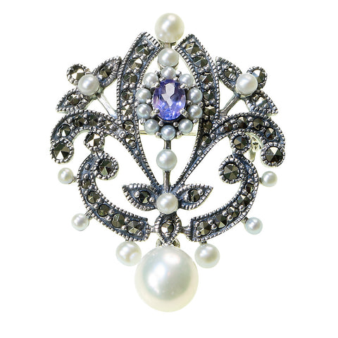 Versatile pin / pendant with a dangling pearl(Amthyst)