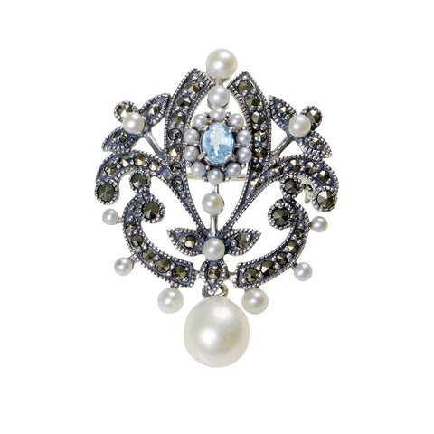 Versatile pin / pendant with a dangling pearl (Blue Topaz)