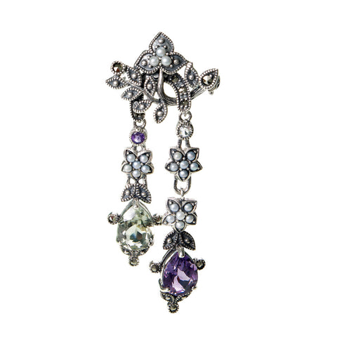 Purple and Green Amethyst Long Dangling Pin / Pendant