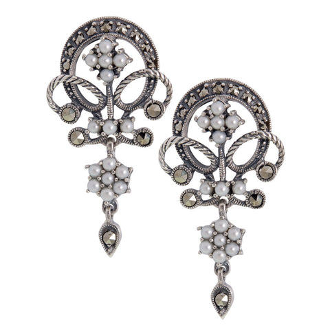 Seed Pearl and Marcasite Round n' Swill Drop Earrings