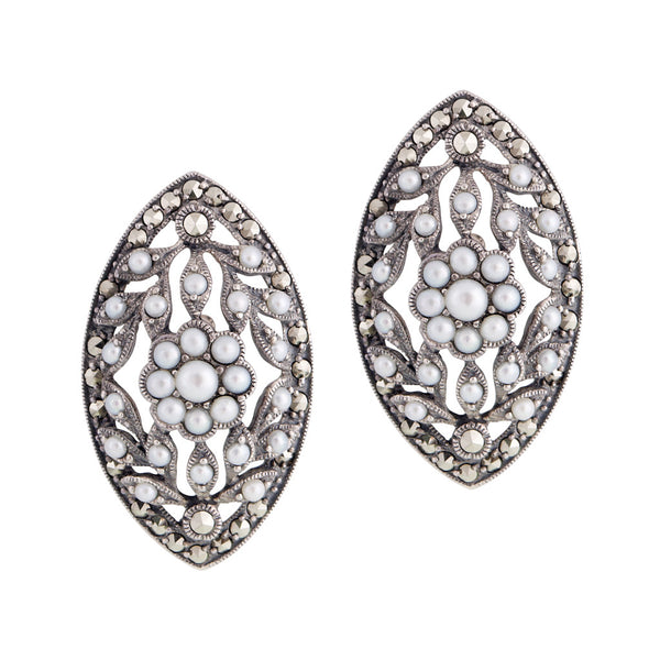 Seed Pearl and Marcasite Large Marquise Stud Earrings