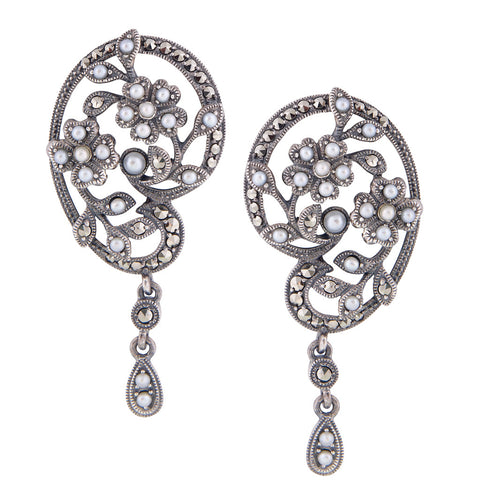 Seed Pearl and Marcasite Flowers and Vines Drop Earrings