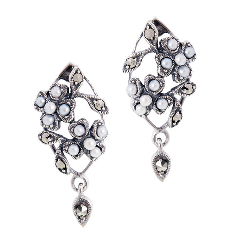 Seed Pearl and Marcasite Marquise Floral Earrings