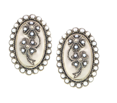 Mother of Pearl and Seed Pearl Floral motif Oval Stud Earring