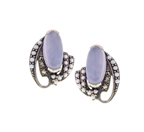 Oval Gemstone and Seed Pearl stud Earrings (Blue Chalcedony)