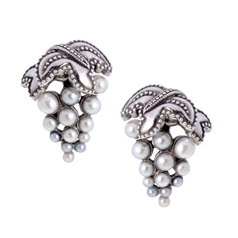 Seed Pearl Grape Stud Earrings