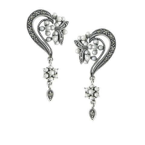Seed Pearl and Marcasite Delicate Dangling Earrings