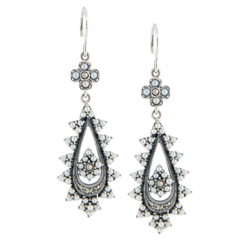 Seed Pearl and Marcasite Tear Drop Dangling Earring