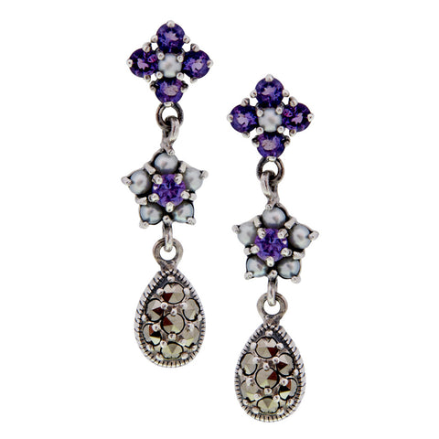Triple Drop Flower Earrings (Amethyst)