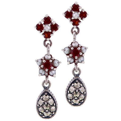 Triple Drop Flower Earrings (Garnet)