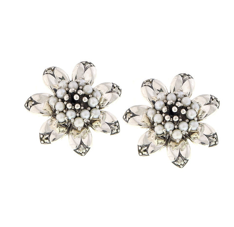 Seed Pearl and Marcasite Flower Stud Earrings