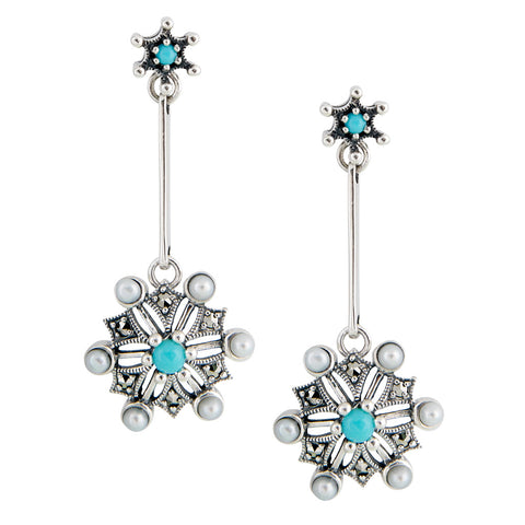 Turquoise Snow Flake Dangling Earrings