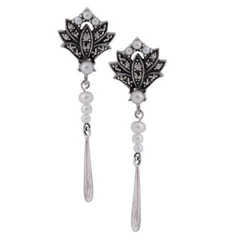 Seed Pearl and Marcasite Sleek Dangling Earrings