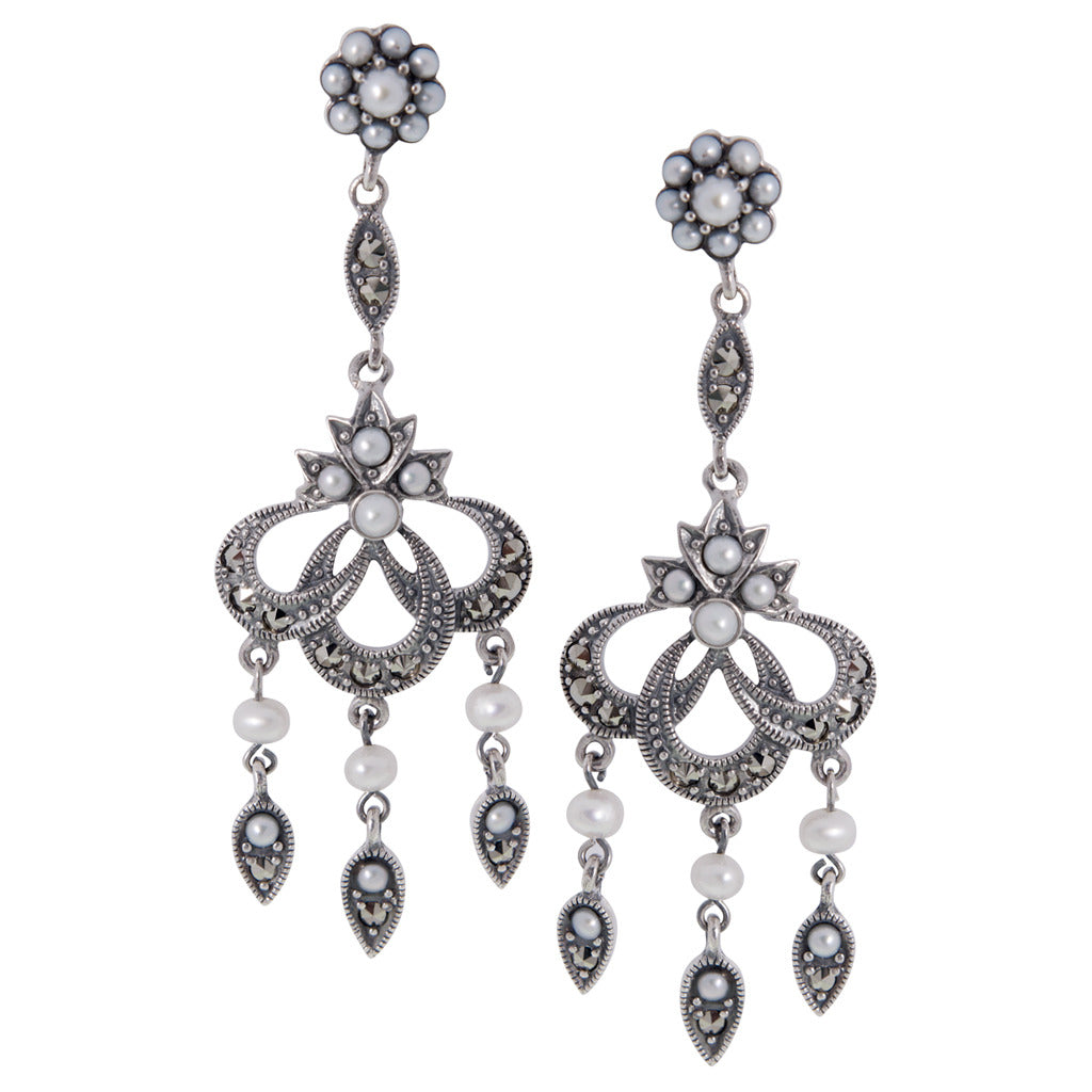 Rctorian new york elegant antique reproduction jewelry seed pearl and marcasite medium chandelier earrings arubaitofo Image collections