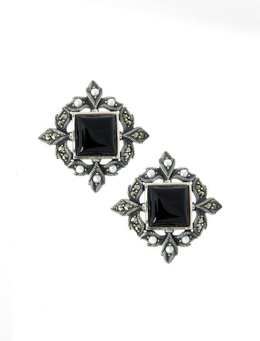 Square Black Onyx Stud Earrings