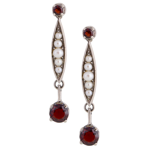 Seed Pearl and Round Garnet Drop Earrings