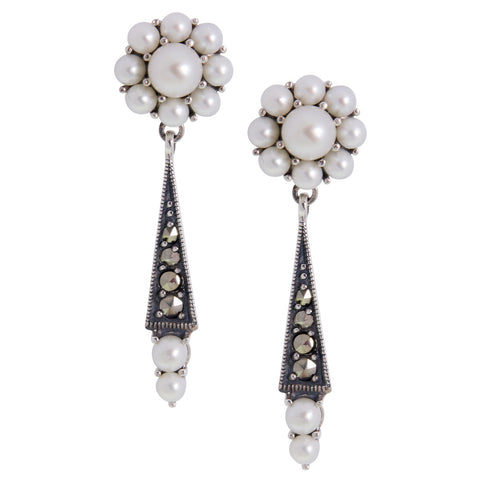 Seed Pearl and Marcasite Flower Dangling Earrings