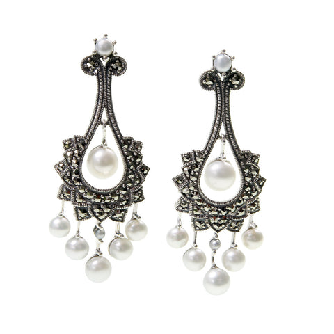 Seed Pearls and Marcasite Medium Chandelier Earrings