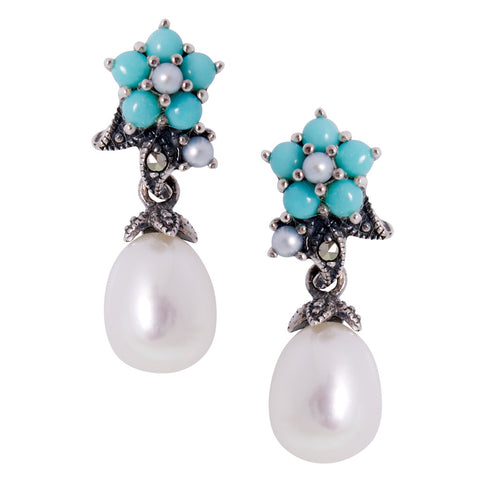 Forget-me-nots & Fresh water Pearl Earrings