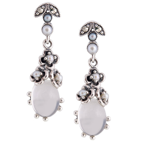 Small Oval Stone Dangling Earrings(Moon Stone)