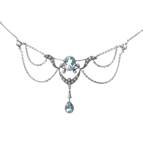 Drape Necklace  (Swiss Blue Topaz)