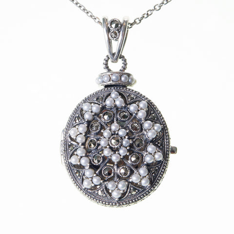 Seed Pearl and Marcasite Oval Locket Pendant (Pearl)