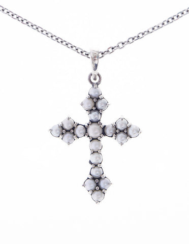Small Cross Pendant (Seed Pearl)