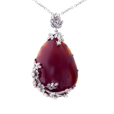 Large Tear Drop Stone Pendant(Carnelian)