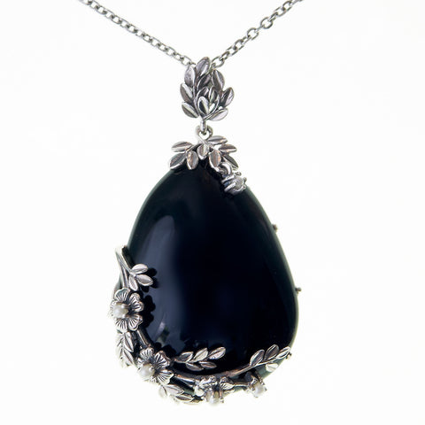 Large Tear Drop Stone Pendant(Onyx)