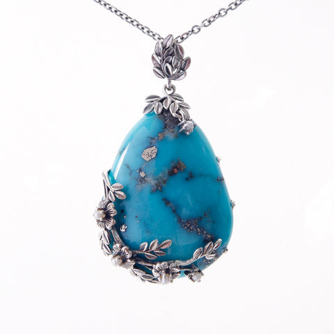 Large Tear Drop Stone Pendant (Turquoise)