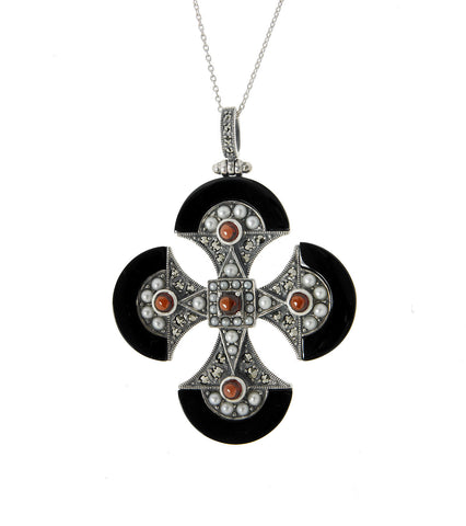 One-of-a-kind Gem Stone encrusted Cross Pendant