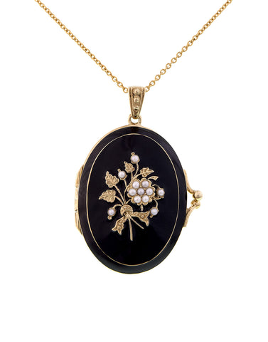 Black enameled Oval Locket Pendant